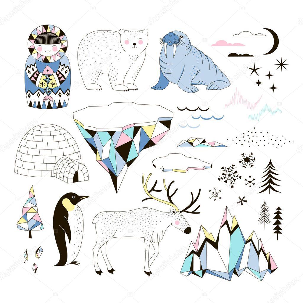 Arctic clip-arts set with cute animals