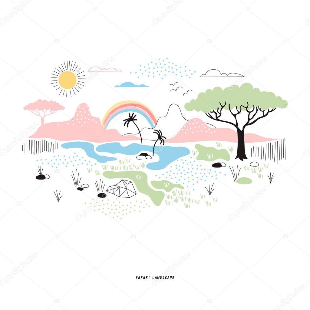 decorative safari landscape in bright colors
