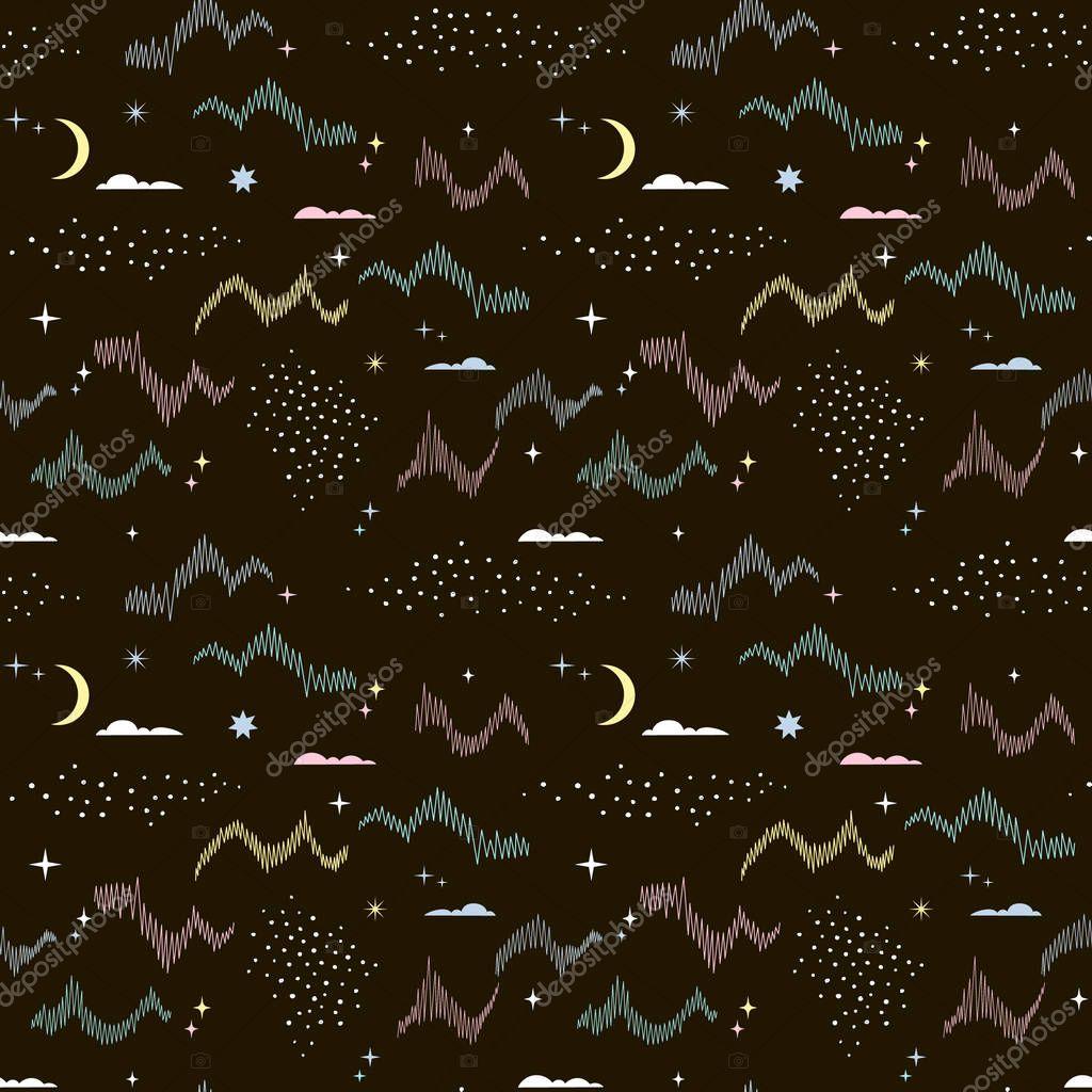 magic Arctic sky seamless pattern