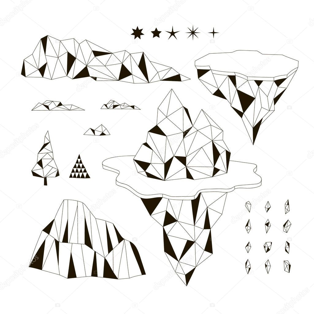 Arctic iceberg set, polygonal illustration