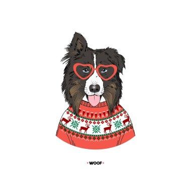 Australian Shepherd portrait wearing deer sweater, dog illustration