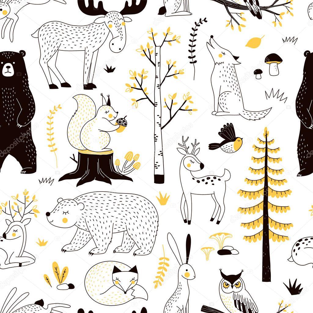 autumn forest pattern, vector illustration