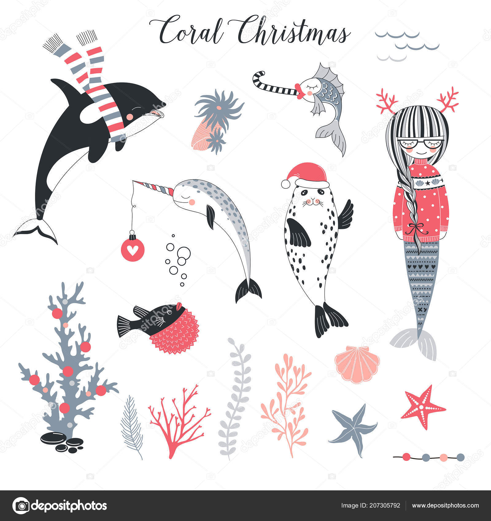Skurrile Weihnachten Cliparts Gesetzt Vektor Illustration ...