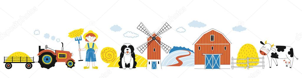 Farmyard banner, Farm graphics. Vector illustration