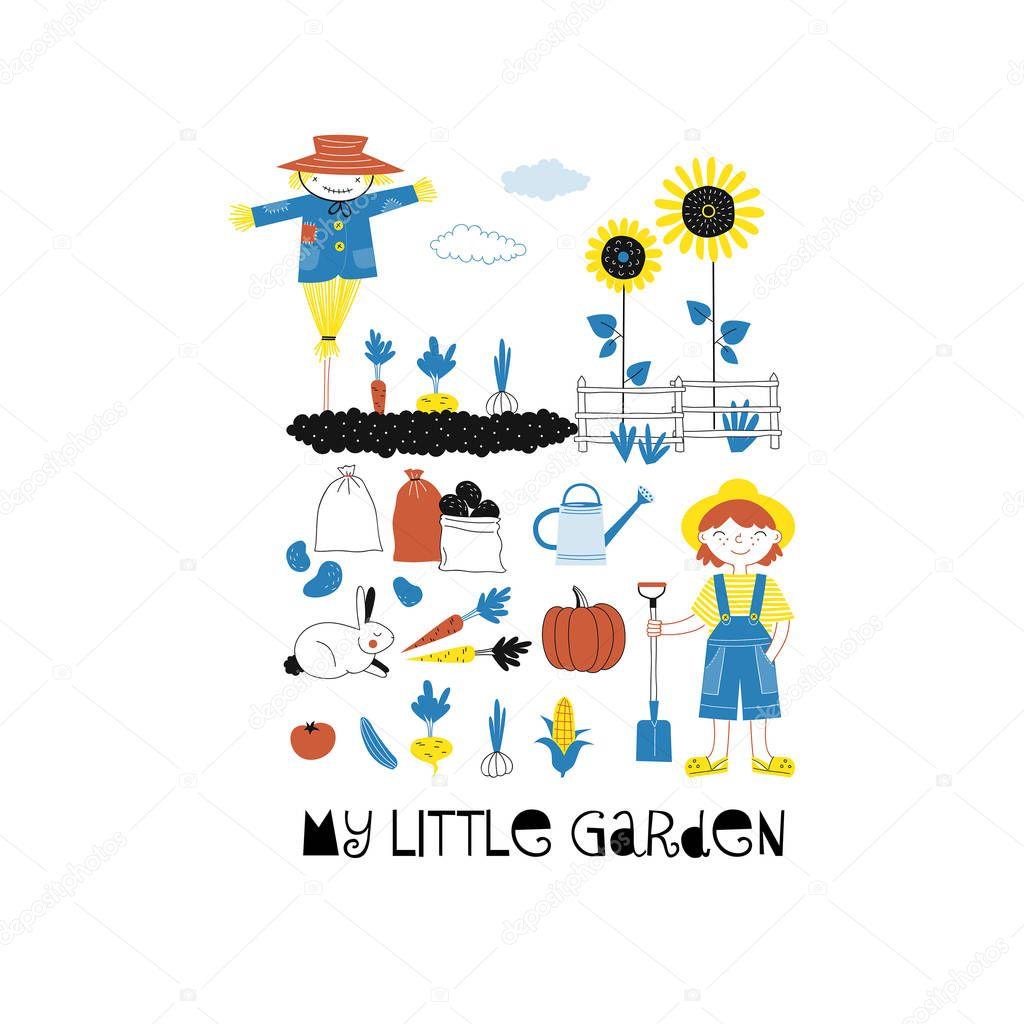 Little garden poster, Farm graphics. Vector illustration