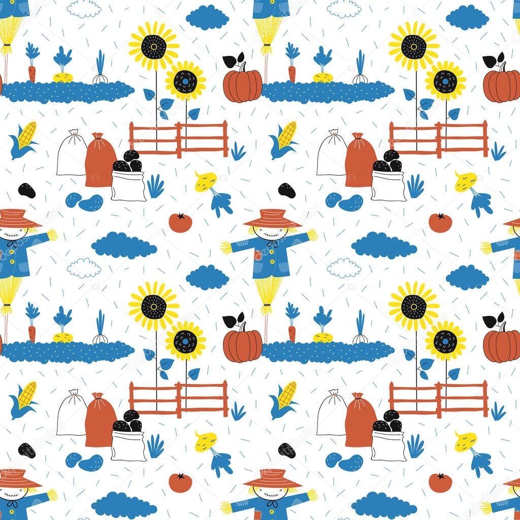 Vegetarian Garden pattern. Vector illustration