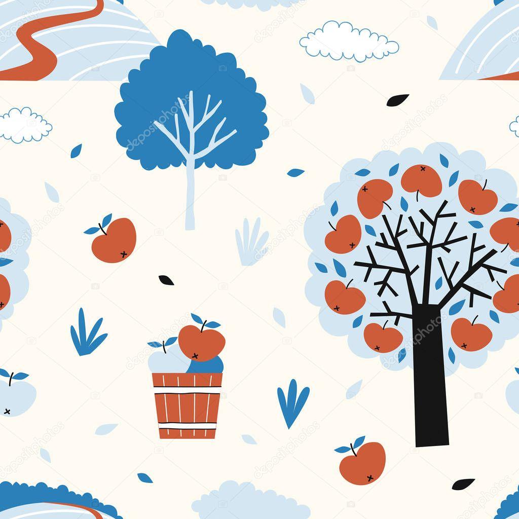 apple orchard pattern. Vector illustration