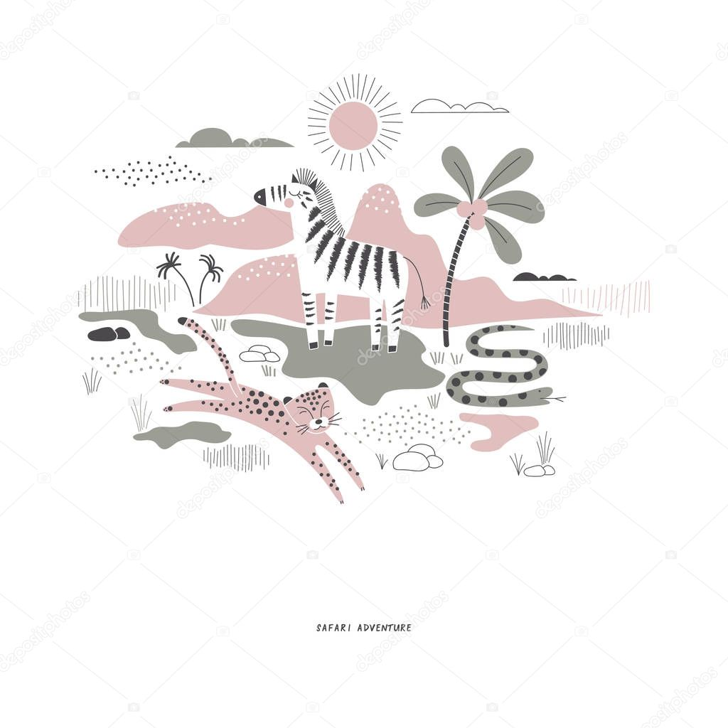 decorative pink and green savannah wildlife illustration