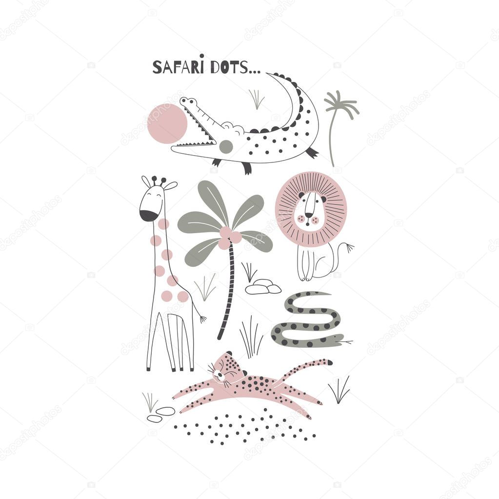 decorative pink and green african animals illustration