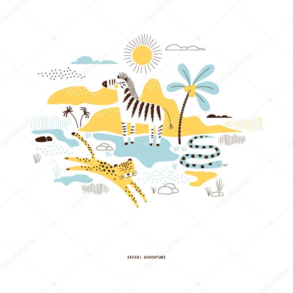 decorative yellow and blue savannah wildlife illustration
