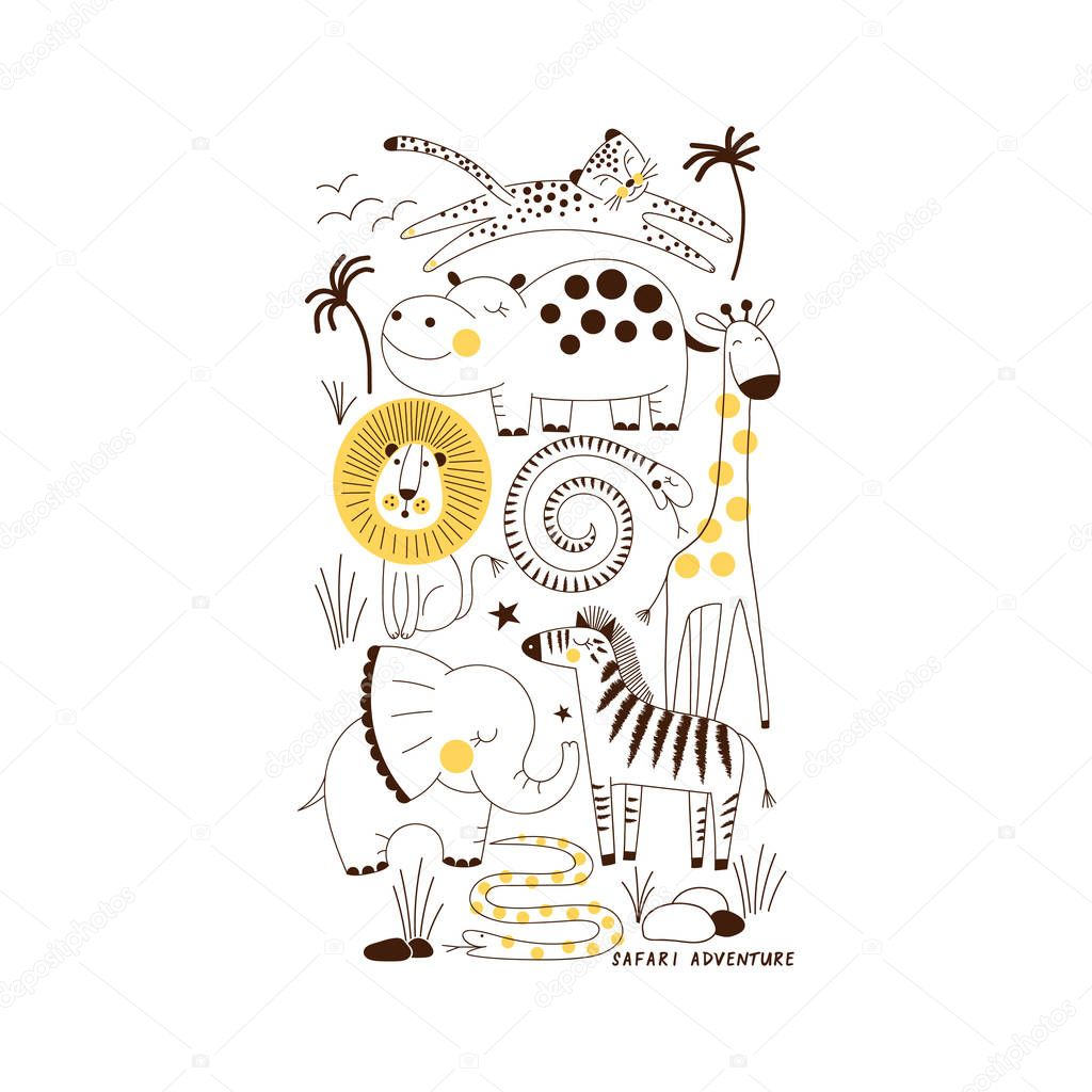 decorative yellow and blue savannah wild animals illustration