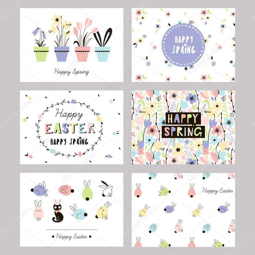 Easter spring cards set