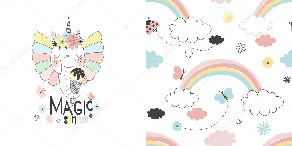Graphic set with illustration of Fancy cute elephant unicorn with ice cream and summer rainbow seamless pattern.