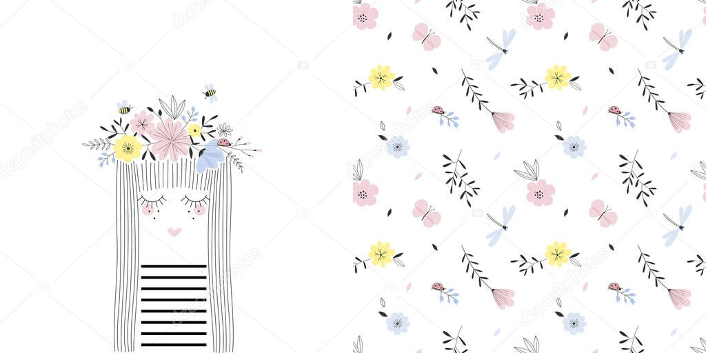 Colourful graphic set with illustration of cartoon girl portrait in floral garland and small scaled flower seamless pattern.