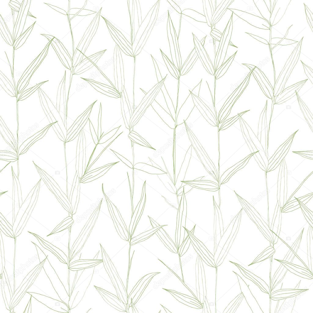 Beautiful hand drawn botanical vector seamless pattern with bamboo leaves.