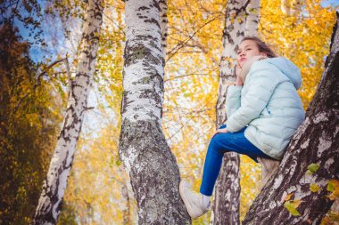 Girl in scarf and blue down jacket sits on birch with her feet on an autumn cool day.