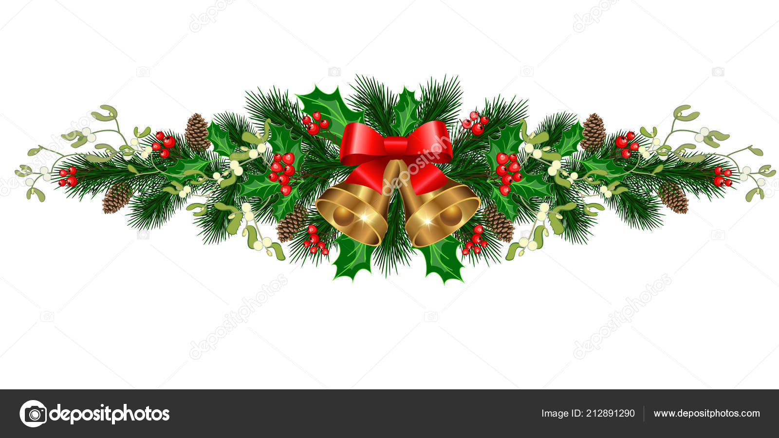 christmas decorations bells fir tree pine cones mistletoe holly berries stock vector