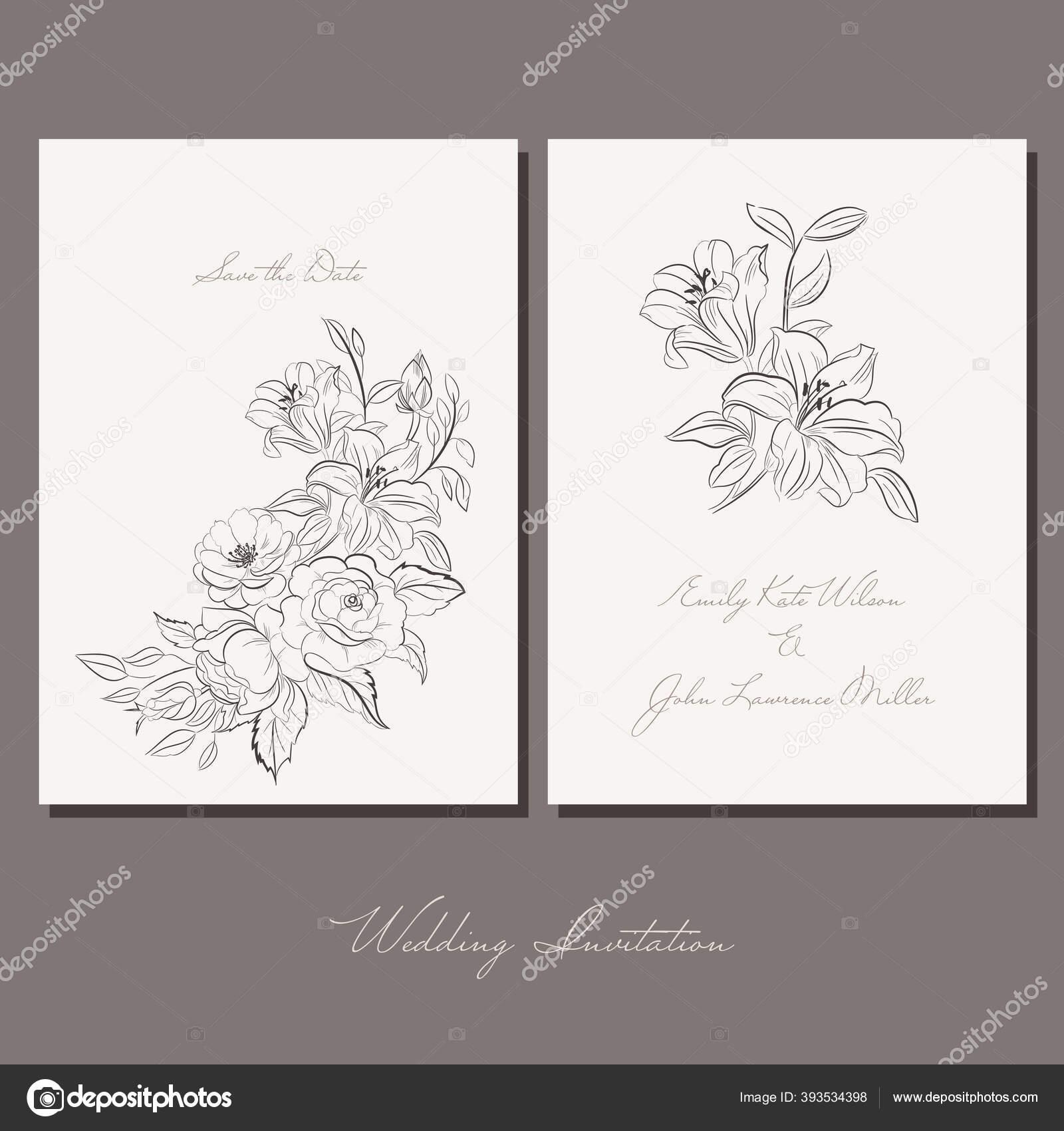 Wedding Cards Sketch Drawing Flowers Lettering Wedding Background Ink Pen Stock Vector C Vasimila 393534398