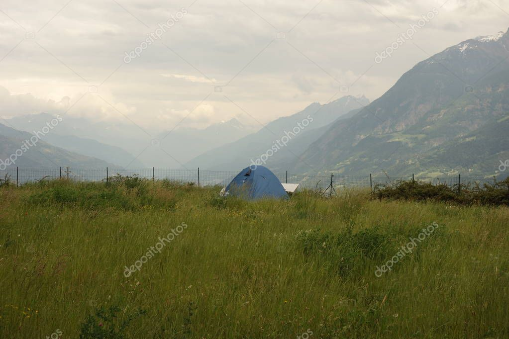 tent in Aosta Valley, Alps Mountains, Italy