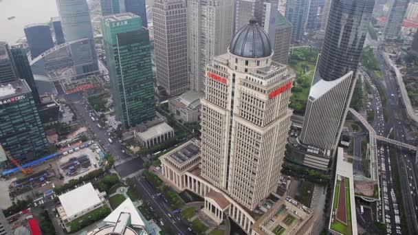 View of traffic through Lujiazui financial district , Shanghai, China