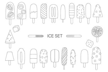 Vector illustration of black and white ice-cream. Bright ice set