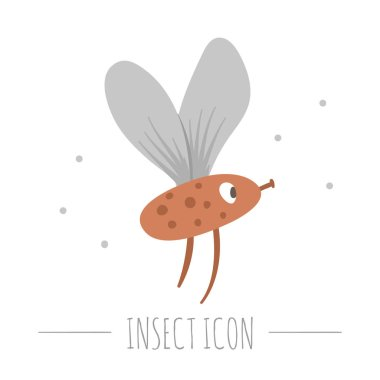 Vector hand drawn flat flying red insect. Funny woodland fly