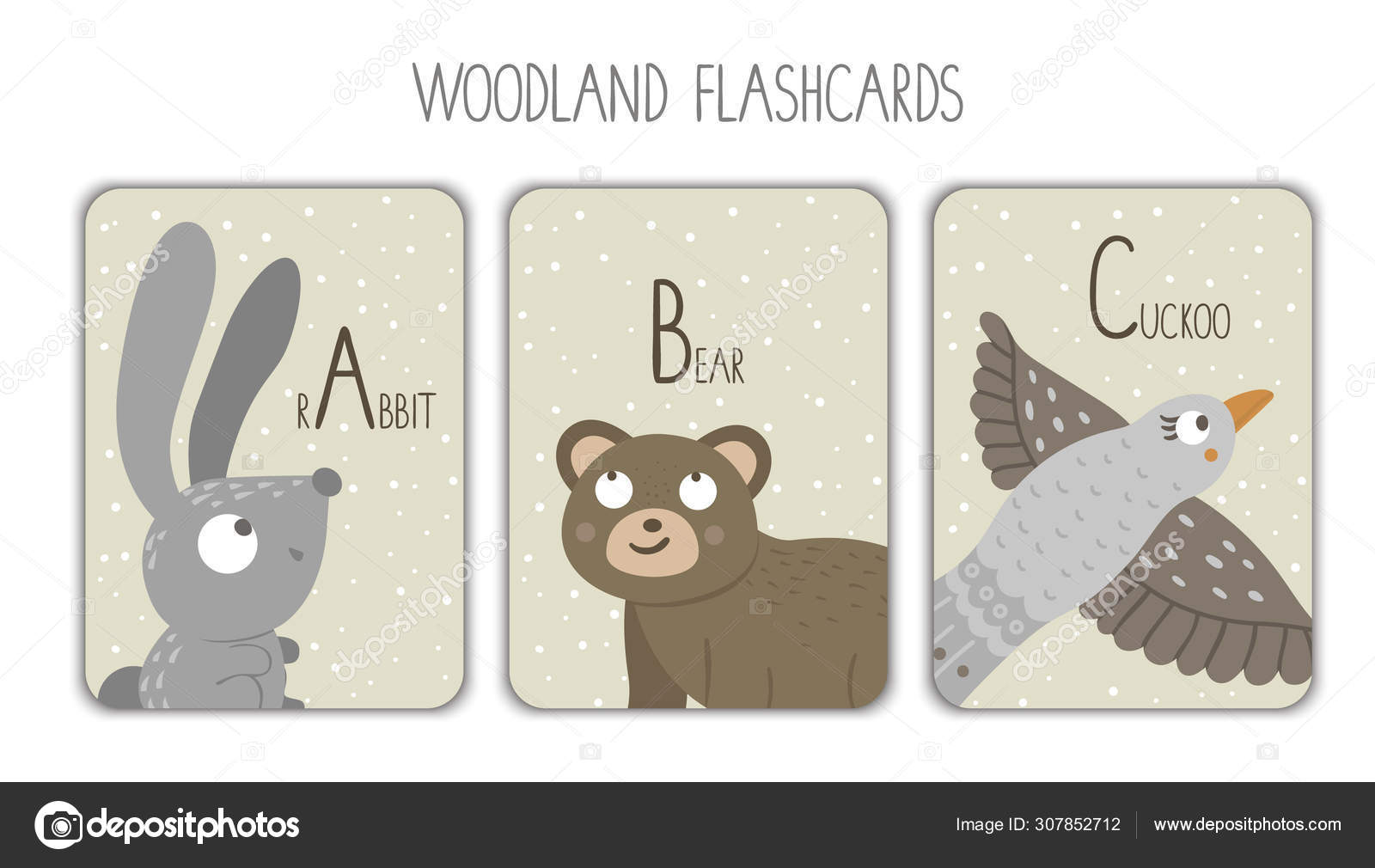Colorful alphabet letters A, B, C  Phonics flashcard  Cute
