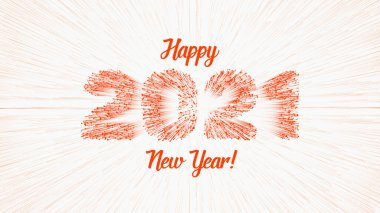 Vector 2021 text constructed with glowing lines and lightspeed burst on background. Bright Happy New Year illustration. Abstract greeting card.