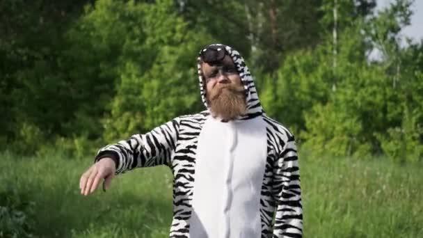 Verrückte Menschen, Mann im Zebra-Kostüm, helle Emotion, lustiger Moment,