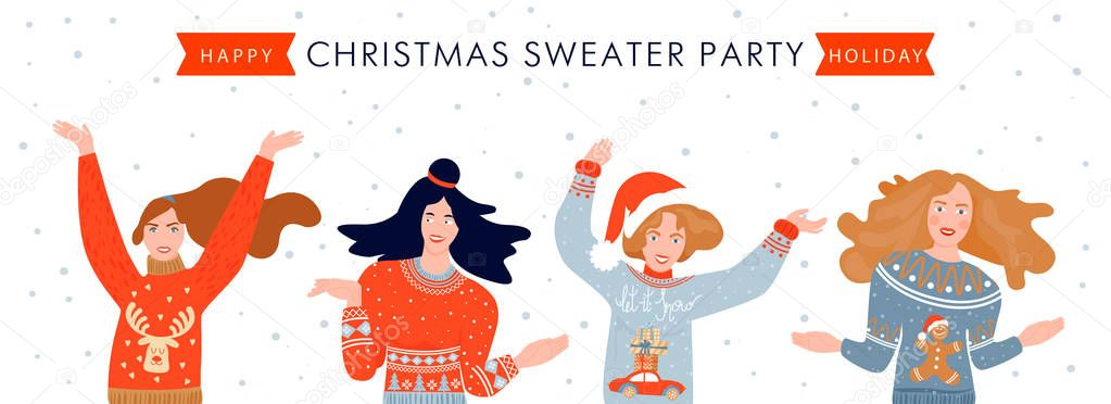 Christmas And Happy New Year Banner Template On Ugly Sweater Party Card With Happy People In Sweaters Vector Illustration Premium Vector In Adobe Illustrator Ai Ai Format Encapsulated Postscript