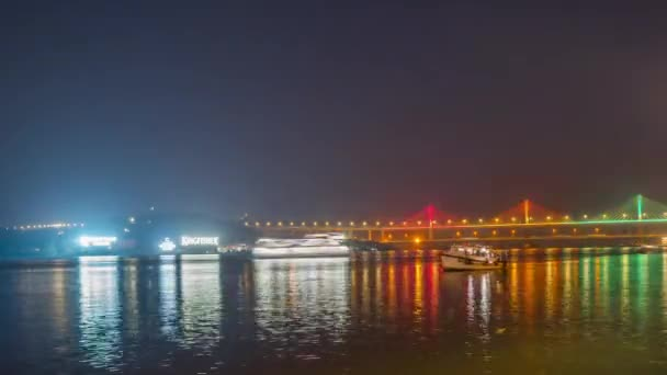 Huge cable-stayed bridge over the river India. Timelapse