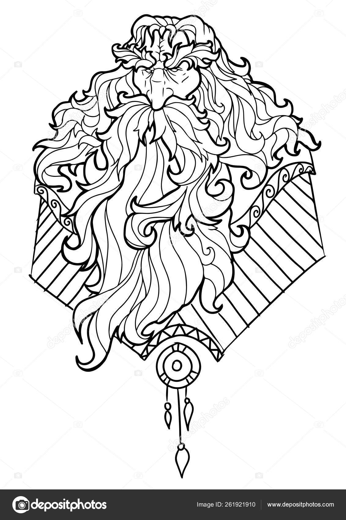 Bearded man with mustache for adult coloring pages tattoo art ethnic patterned t shirt print monochrome hand drawn illustration in doodle style