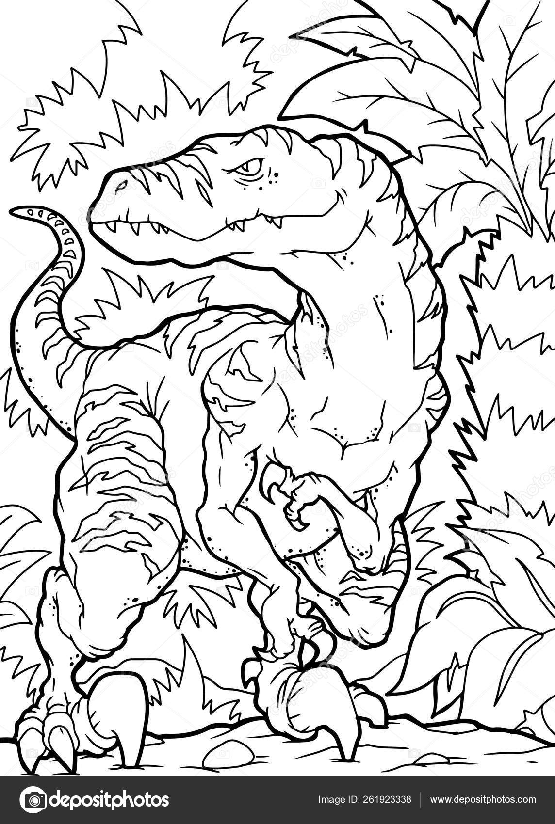 Coloring Book Velociraptor Dinosaur Coloring Page — Stock Vector ...