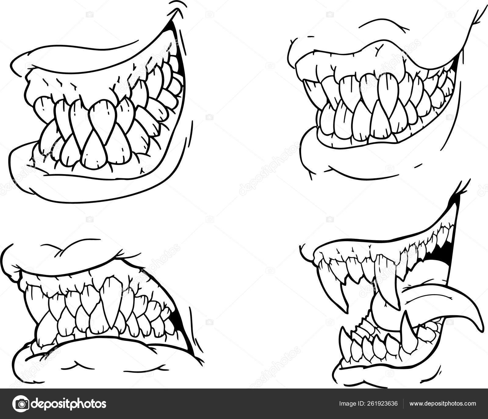 Hand Drawing Set Black White Scary Halloween Jaws Canines Teeth Stock Vector C Black Rhino 261923636