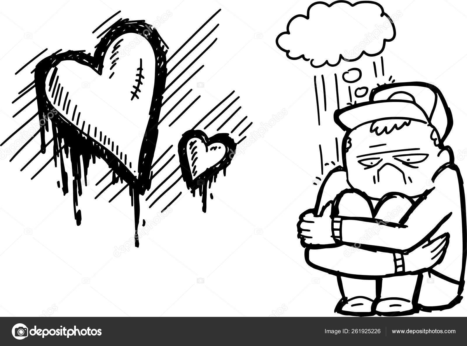 Broken Heart Sad Man Divorce Family Loss His Beloved Dead Stock Vector C Black Rhino 261925226