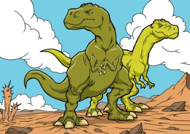 Tyrannosaurus dinosaurs cartoon characters. A4