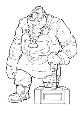 Strong hero, vector image of fantasy dwarf coloring book stock vector