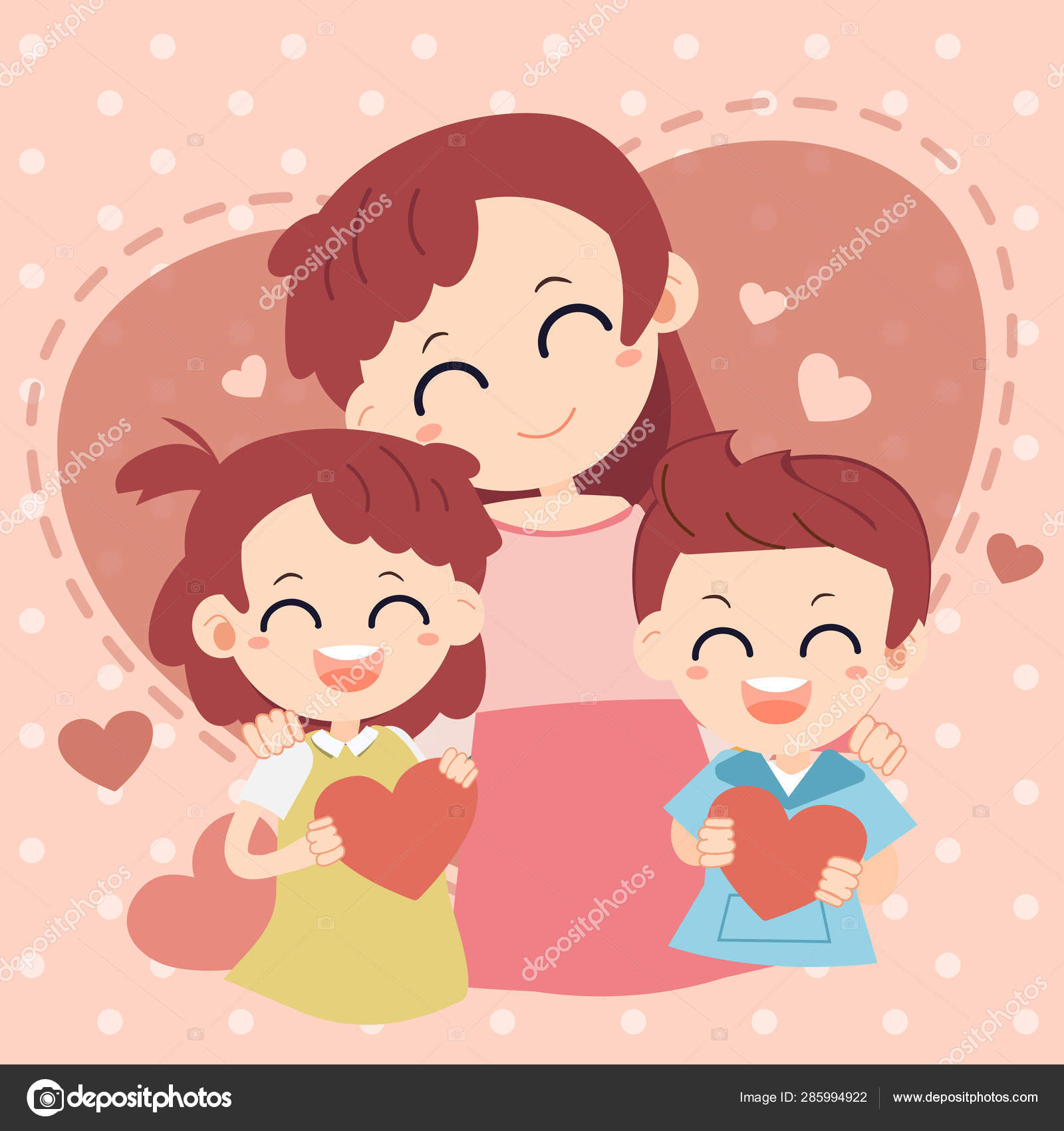 Love Mom Card Happy Mother Day Mother Baby Heart Background Stock Vector C Ruksina Sai Gmail Com 285994922