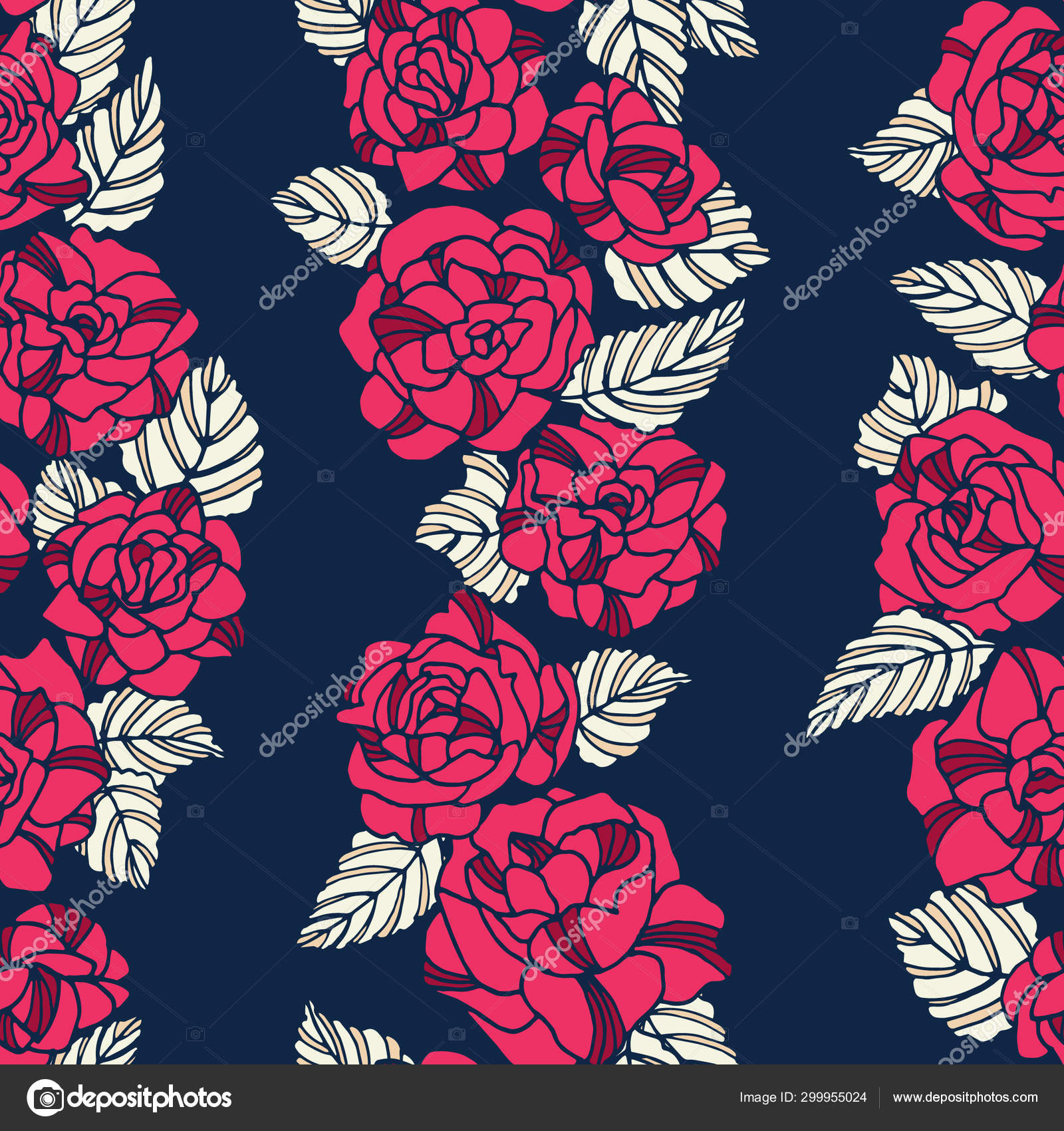 Floral Rose Seamless Repeat Pattern You Can Enjoy Pink Navy