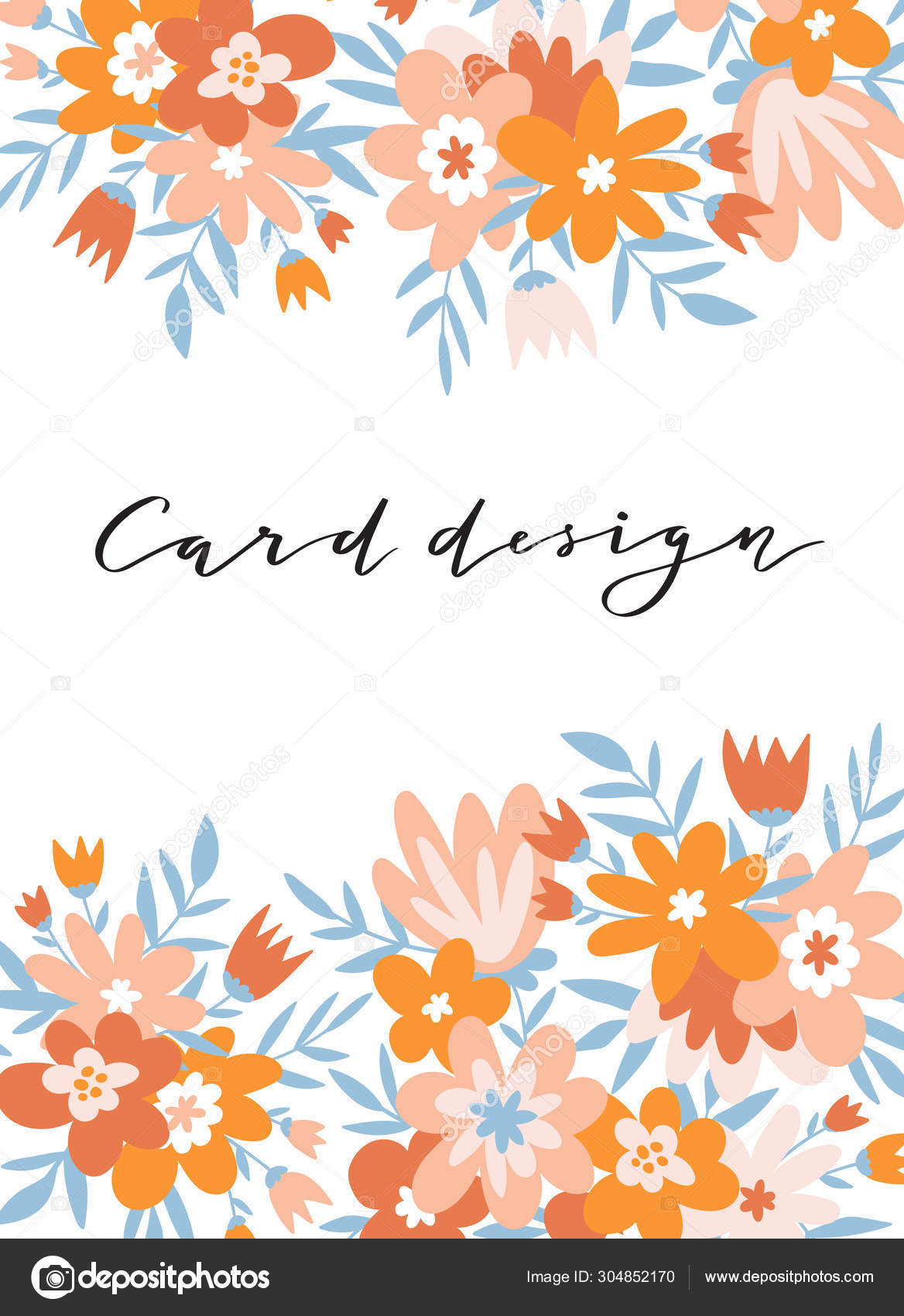 Romantic Flower Card Cute Wedding Invitation Template Design Vector Illustration Stock Vector C Utro Na More 304852170