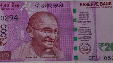 Portrait of Mahatma Gandhi on the new Indian currency note of 2000 Rupees denomination.