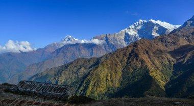 Beautiful snow peaks of Annapurna Range, Nepal. Annapurna includes one peak over 8,000 metres, thirteen peaks over 7,000 metres.