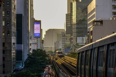Bangkok, Thailand - Dec 24, 2018. BTS Skytrain on the rail track  in Bangkok, Thailand. Each train of the mass transport rail network can carry over 1,000 passengers.