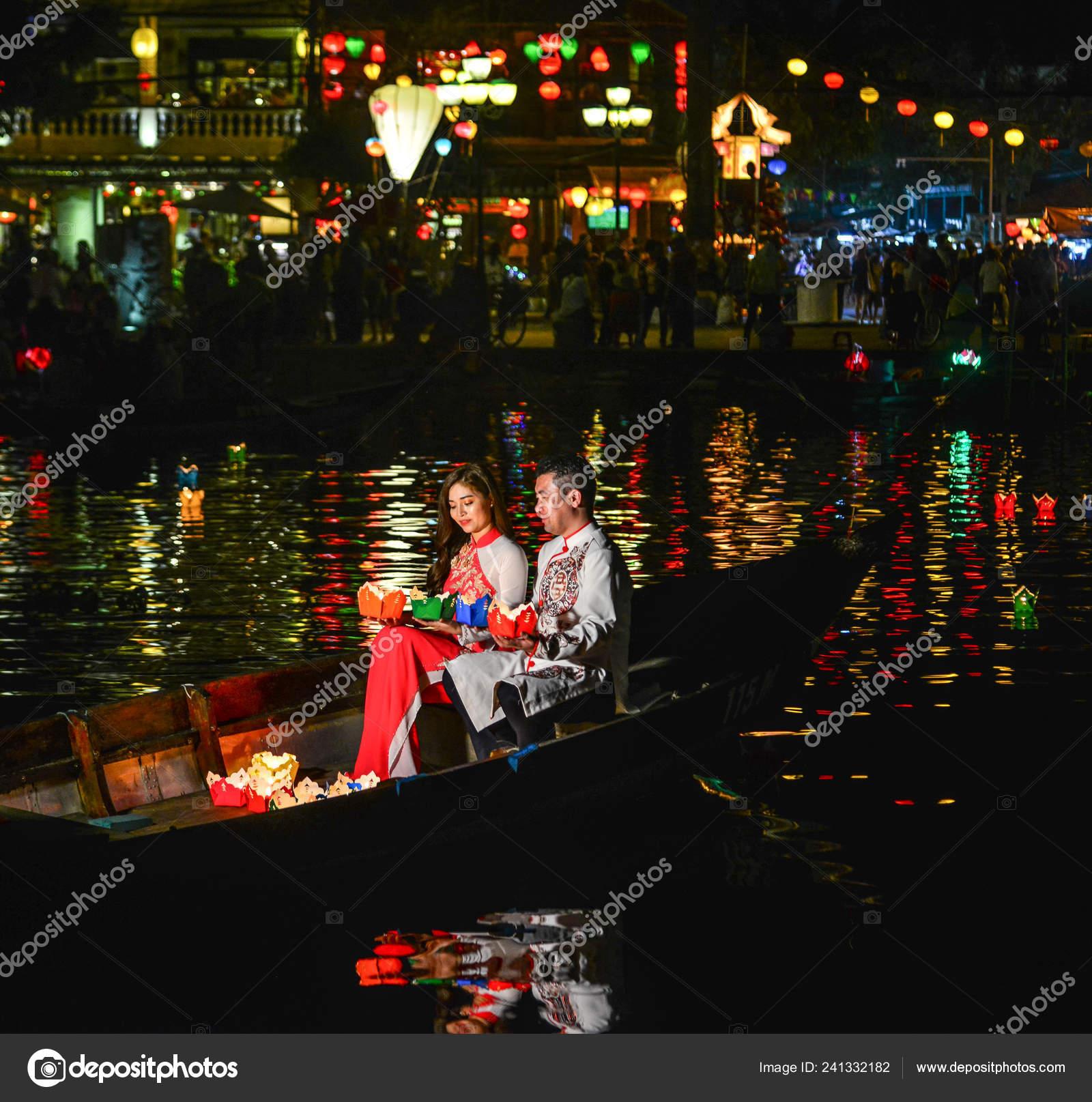 Hoi Vietnam Jan 2019 Vietnamese Couple Sitting Wooden Boat Night Stock Editorial Photo C Phuongphoto 241332182