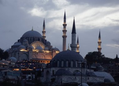 Ancient mosque at twilight in Istanbul, Turkey. Istanbul is the city of two continents, one of most visited cities in the world.