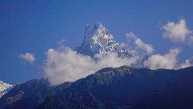 Snow peak of Annapurna Range at sunny day. View from Ghandruk, Nepal. stock vector