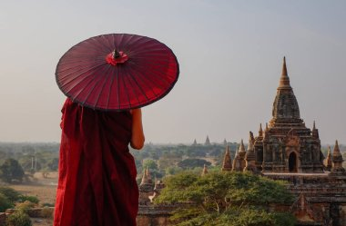 A monk at ancient temple in Bagan, Myanmar
