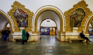 Moscow, Russia - Oct 16, 2016. People waiting at underground metro station at downtown in Moscow, Russia.