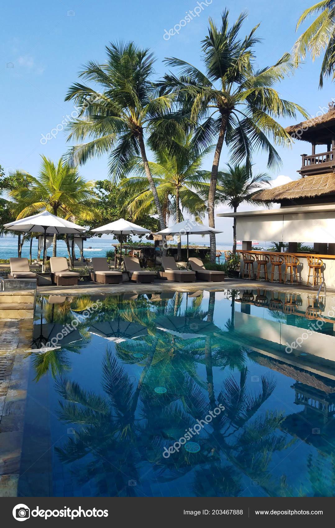 Pool Bar Amenities Surrounded Palm Trees Beach Resort Bali