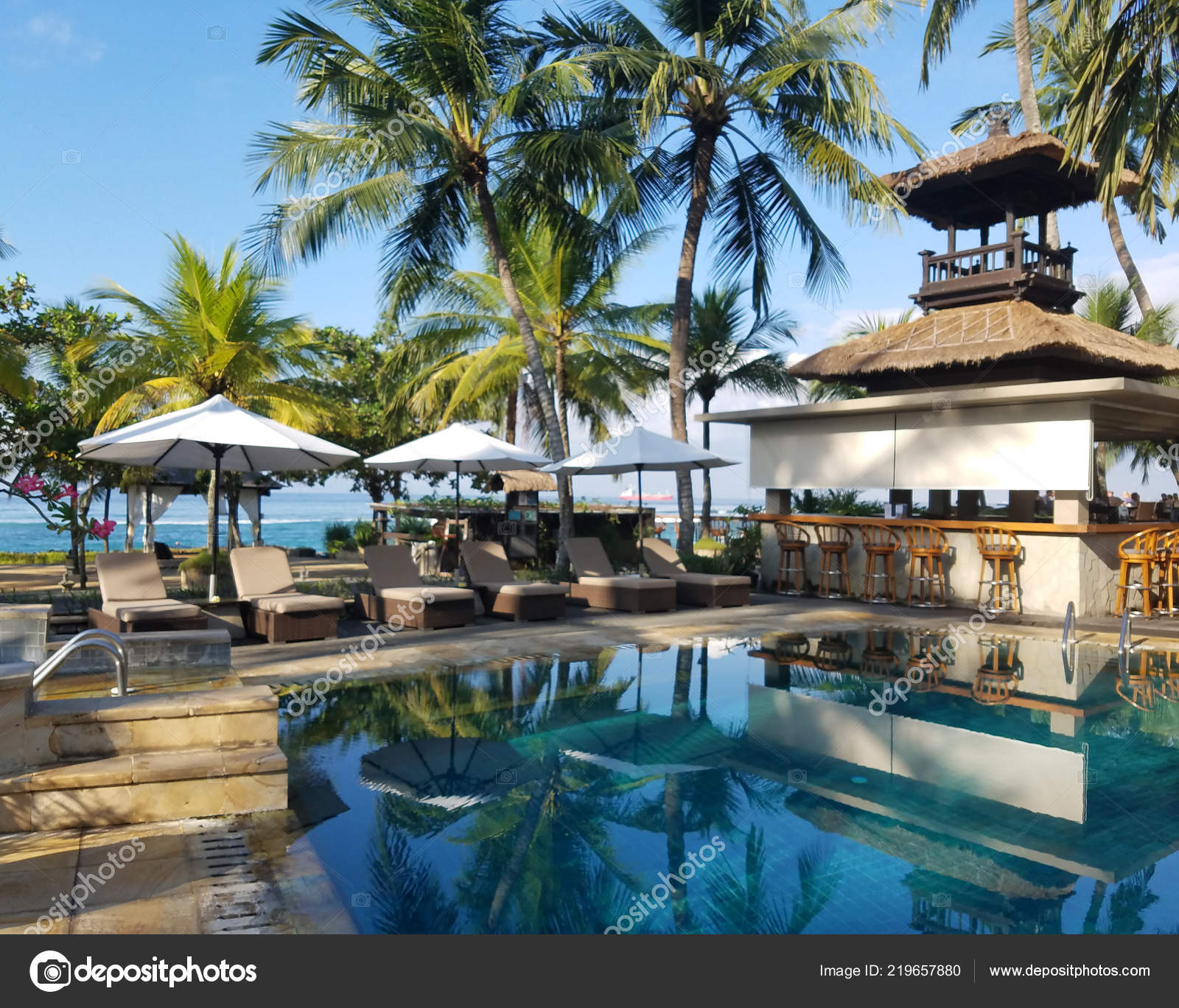 Pool Bar Amenities Surrounded Palm Trees Candidasa Beach